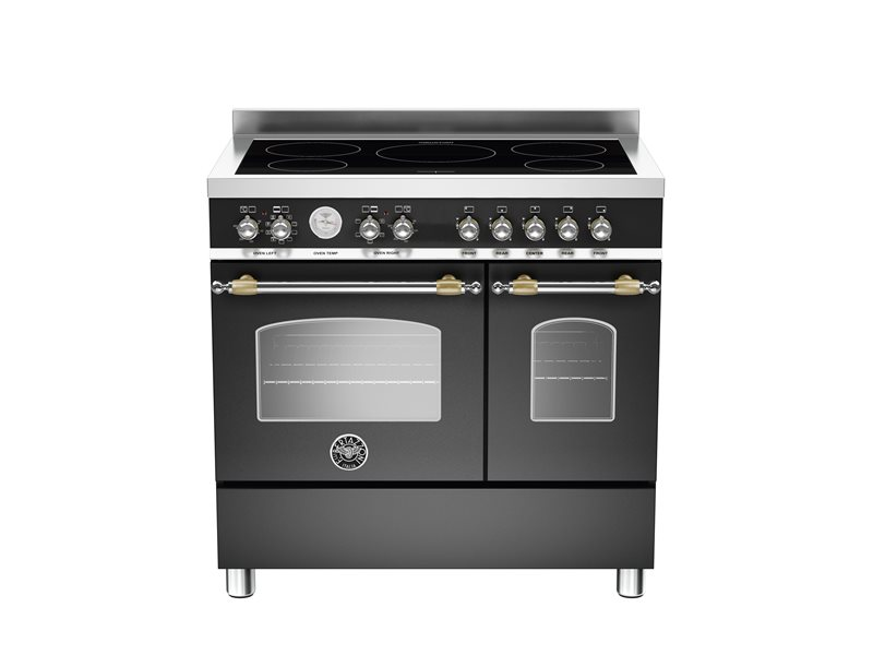 90 cm induction top electric double oven | Bertazzoni - Matt Black