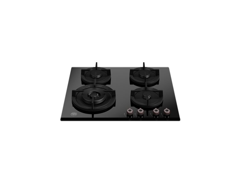 60cm gas on glass hob with lateral wok | Bertazzoni - Nero