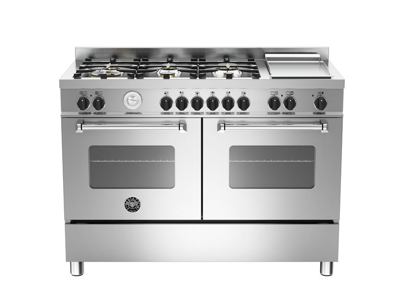 120 cm 6-burners+griddle, eletric double oven | Bertazzoni - Stainless