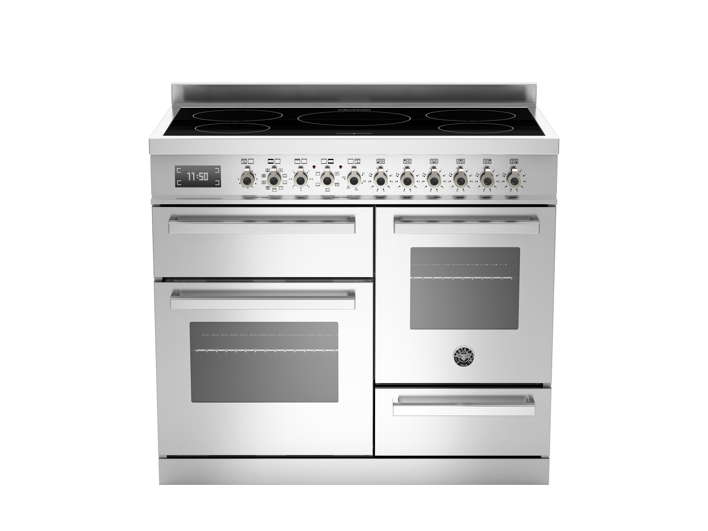 100 cm induction top electric triple oven | Bertazzoni - Stainless