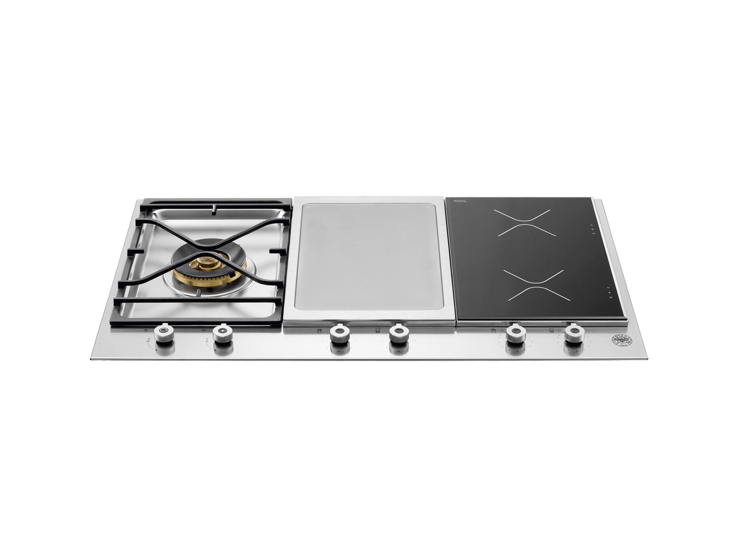 90 3-Segment Gas/Griddle/Induction hob | Bertazzoni - Stainless